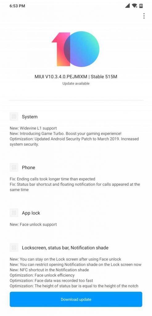Pocophone F1 получил стабильную MIUI 10.3.4